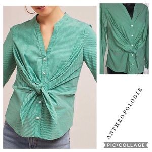Anthropologie Maeve Green Striped Button Down 4